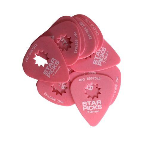 Everly Star Guitar Picks  12 Pack  .73mm  Super Grip  Pink