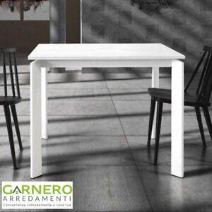 Dettagli su Tavolo quadrato allungabile DYLAN gambe in metallo bianco  opaco, design moderno