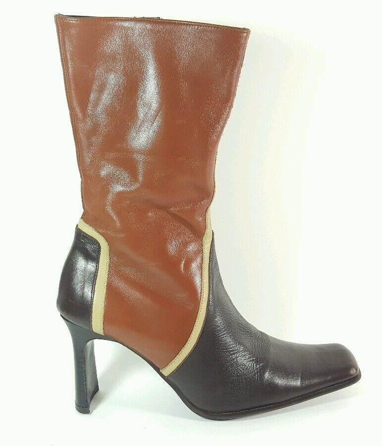 Next multi tone leather heeled mid calf boots uk 5 Eu 38