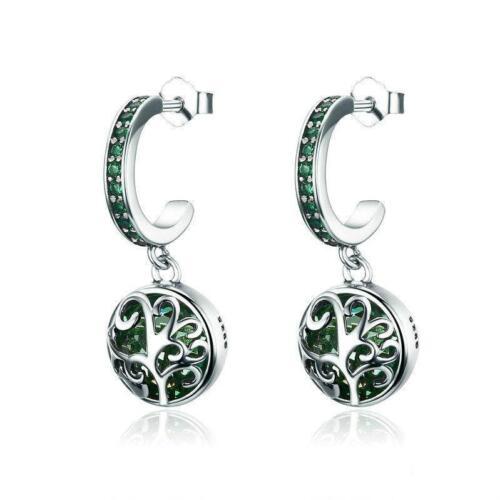 Green Tree of Life Real 925 Sterling Silver Stud Earrings B01