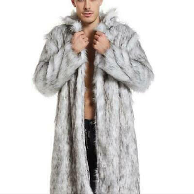 Luxury Winter Womens Fur Trench Coat Lapel Outwear Warm White Long Sz S-4XL