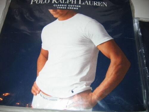 Ralph Lauren 3 CREW NECK V-NECK T-SHIRTS Cotton White Undershirt Mens S M L XL