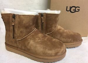Image is loading UGG-Australia-Classic-Mini-Double-Zip-Chestnut-Suede-