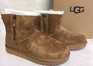 7cbef0b42f0 Details about UGG Australia Classic Mini Double Zip Chestnut Suede  Sheepskin Boots 1018849