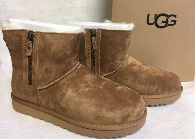 a6fe71f12cc UGG Classic Mini Double Zip Chestnut Suede Sheepskin Womens BOOTS Size US 7