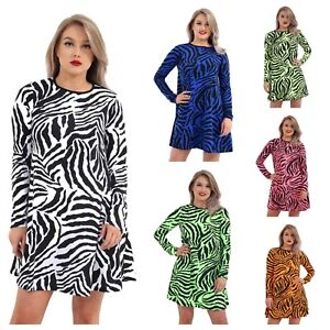 WOMENS-ANIMAL-ZEBRA-PRINT-SWING-DRESS-LADIES-NEON-SKATER-DRESS-PLUS-SIZE-8-26