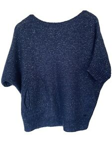 River-Woods-Women-Short-Sleeve-Navy-Sparkle-Jumper-Knit-Top-Size-S2-M