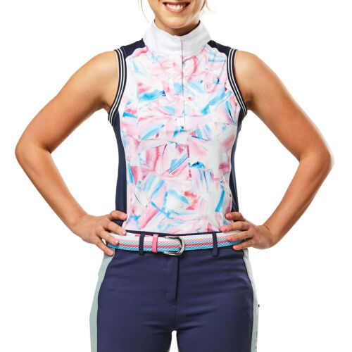 Dublin Katie Printed Sleeveless Womens Shirt Competition Geo Print All Sizes