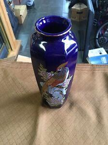 "Japanese Blue Vase 11"" Tall Bird Japan"