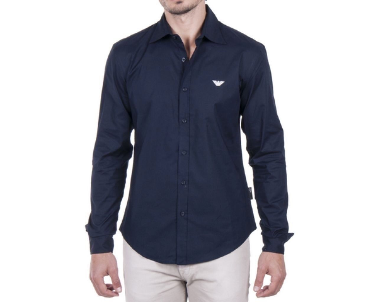 Mens Emporio Armani Jeans Navy bluee Casual Slim Shirt Size M