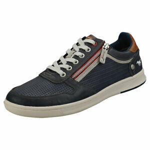 b8e6028bfbecca Mustang Side Zip Low Top Mens Dark Blue Synthetic Trainers | eBay