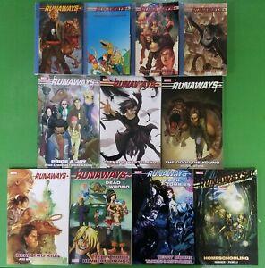 Runaways-Lot-Vol-1-2-3-4-5-6-7-8-9-10-11-Complete-Brian-K-Vaughn-Marvel-TPB-Lot