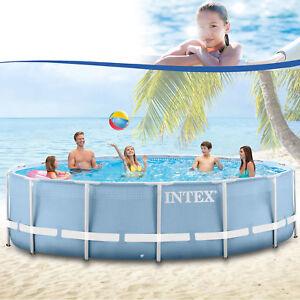 Intex-457x122-cm-Schwimmbecken-Swimming-Pool-Schwimmbad-Stahlwand-Metallrahmen