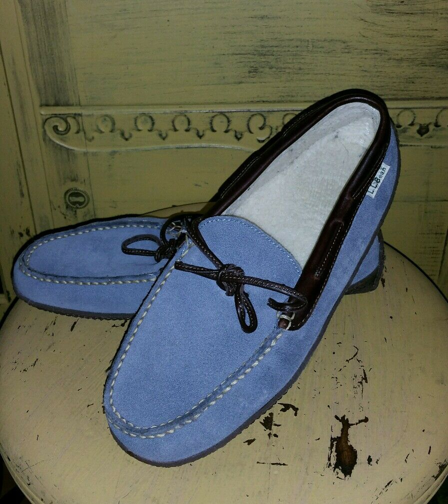 LL BEAN PREOWNED LINED FUR BLUE SUEDE MOCCASINS SLIPPERS LADIES 9 M MOCS