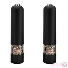 lot 2pcs fashion new black electric pepper mill(salt grinder),battery operated