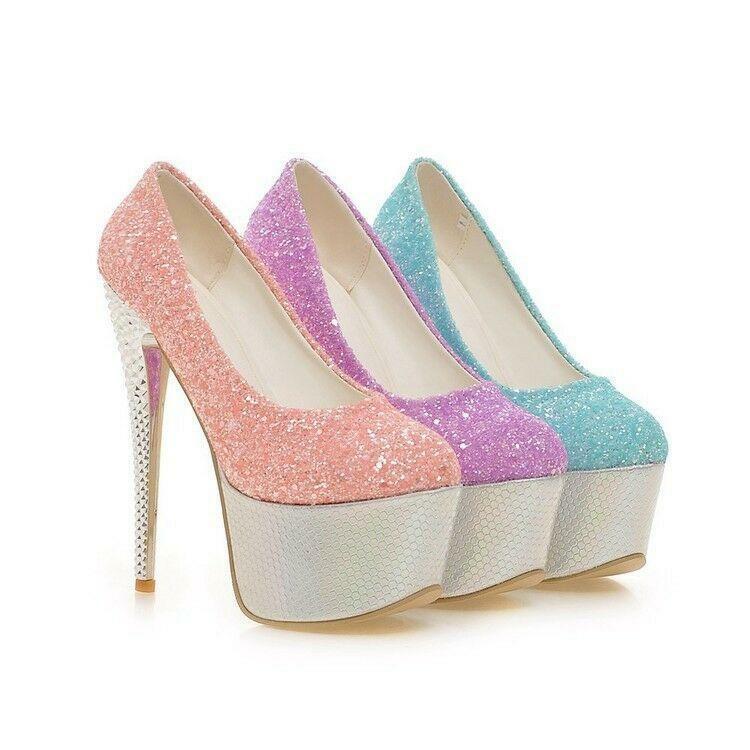 Womens Round Toe Platform High heel Stilettos Sequins Slip on nightclub shoes