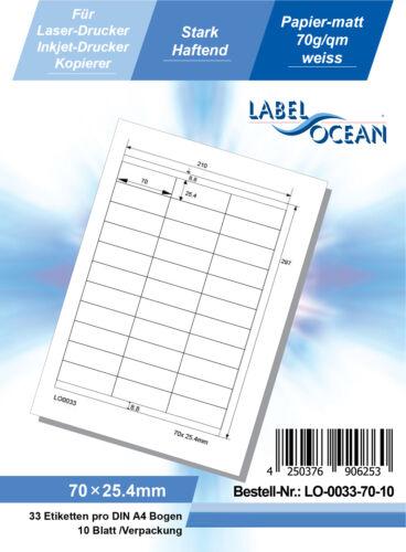 10 Blatt Laser Inkjet Kopierer Klebeetiketten DIN A4 weiß 70x25,4mm