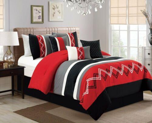 Full Queen Cal King Red Black Gray Zig Zag Striped 7 pc Comforter Set Bedding