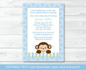 Details About Baby Boy Monkey Blue Jungle Safari Printable Shower Invitation Editable PDF