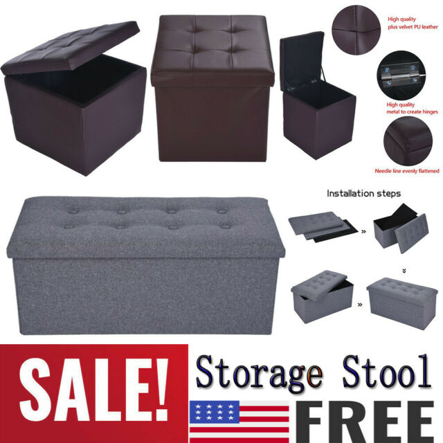Fine Leather Folding Storage Ottoman Sofa Bench Box Lounge Seat Foot Stool Decor Usa Machost Co Dining Chair Design Ideas Machostcouk