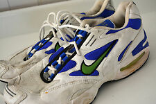 Vintage NIKE AIR MAX TRIAX 90s Sneakers Mens Sz 11 White Blue Swoosh RARE! #L20