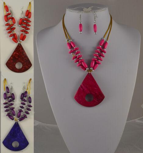 Rojo rosa o púrpura 2 Strand grano de madera Triangulo Collar conjunto