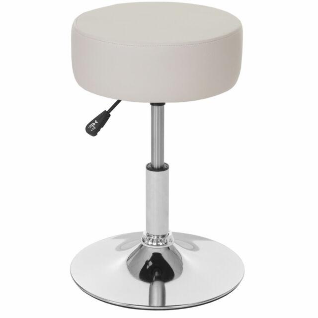 2x Hocker MCW-C22 höhenverstellbar Kunstleder Sitzhocker Drehhocker creme