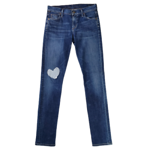 Citizens-of-Humanity-Womens-Avedon-Low-Rise-Skinny-Leg-Jeans-Size-27-Heart-Patch