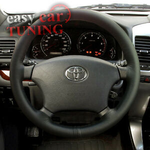 for toyota land cruiser 90 96 02 black real genuine leather steering