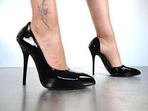 tacco vernice Decolte alto in Vernice con Italy Nero Giohel 45 Schuhe Nero Décolleté qTxwtfn1O