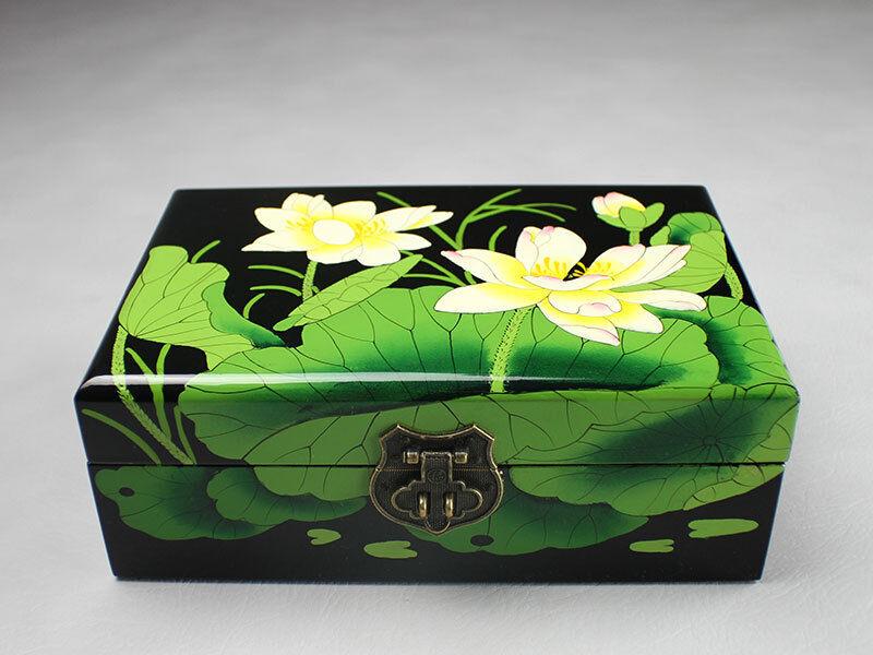 "Schmuckkasten Schmuckkästchen Holz /""Lotus/"" Schmuckbox Schmuckschatulle China"