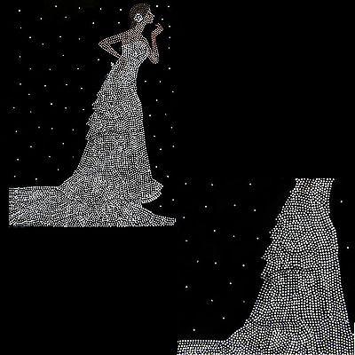 Rhinestone Iron on Transfer Hot fix Motif crystal  Wedding Bride Fashion Design