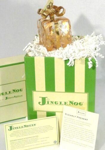 "JingleNog Clearly Present Gold Glass Christmas Ornament 4""H Poland NIB"