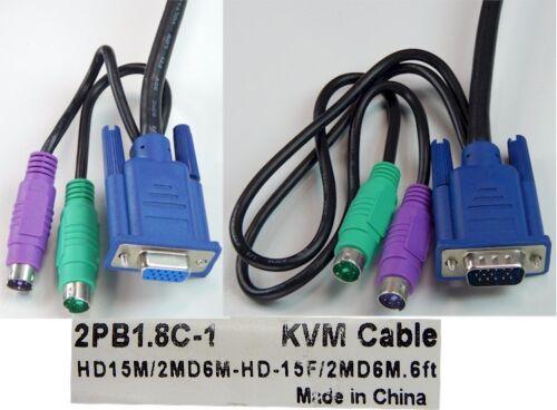 NEW 2PB1.8C-1 HD15M 2MD6M to HD15F 2MD6M KVM Cable +FREE SHIP! 6-Foot