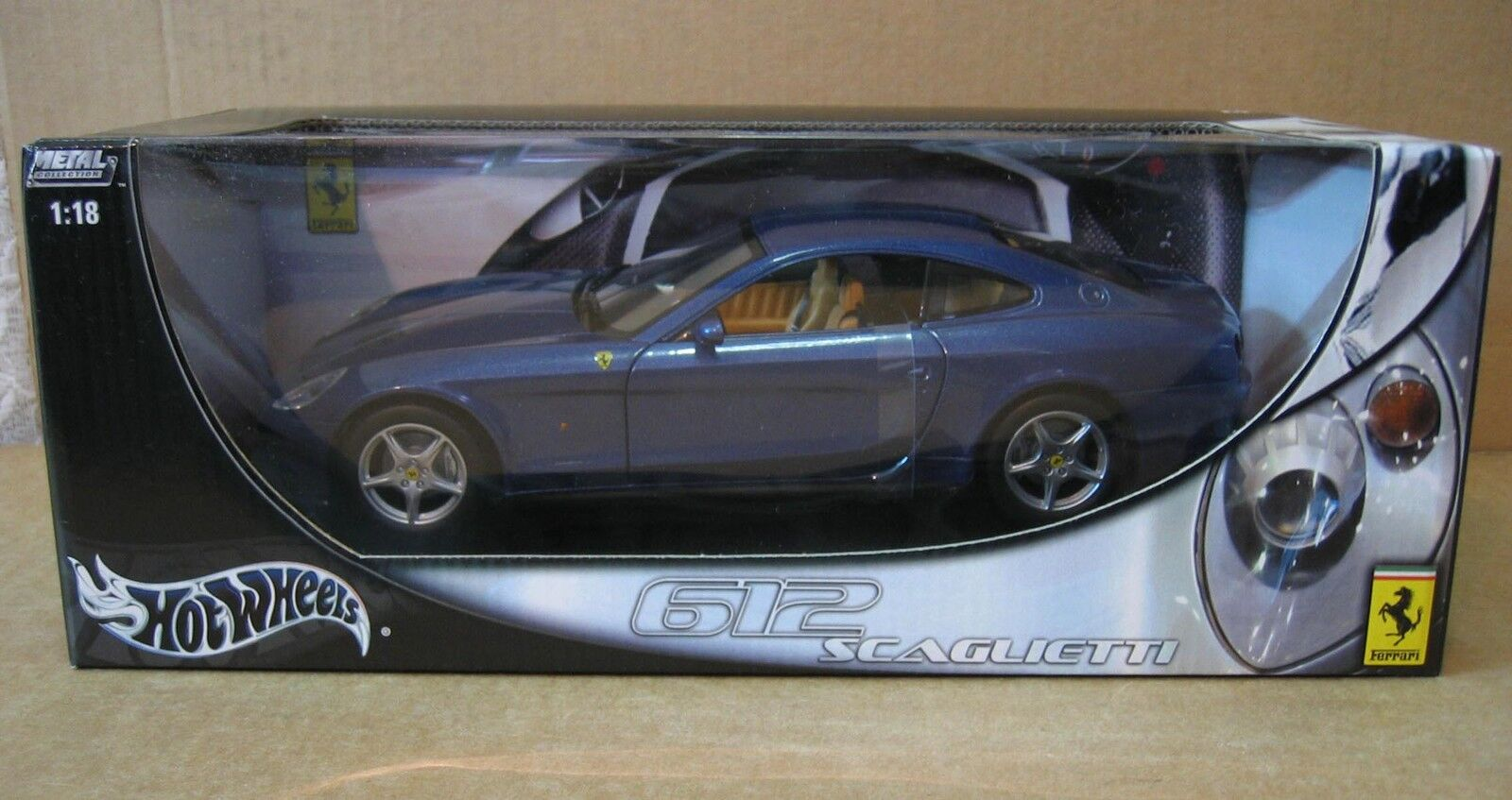 "Hot Wheels Ferrari Enzo 612 Scaglietti 10½"" Long bluee Car DieCast 1 18 NEW C7522"