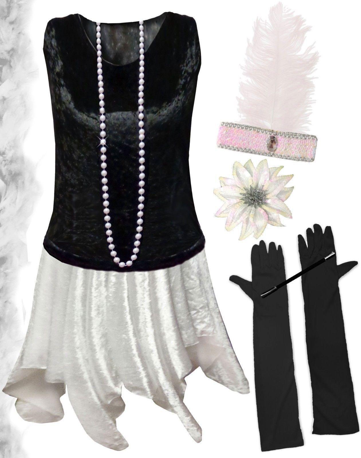 Noir Blanc Roabague Années 20 Taille Plus Clapet Robe Costume HalFaibleeen 1x à 8x