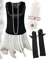 Black / White Roaring 20's PLUS SIZE Flapper Dress Halloween Costume 1x to 8x