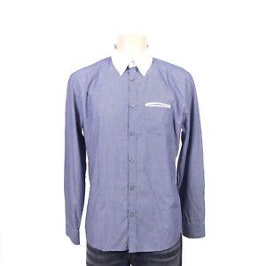DRYKORN Hemd Herren Button-Down-Kragen Gestreift Blau Weiß Gr. XL
