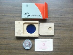 Spain Olympics 1992 Barcelona Soccer Silver 2000 Pesetas 1990 PROOF Wooden Box