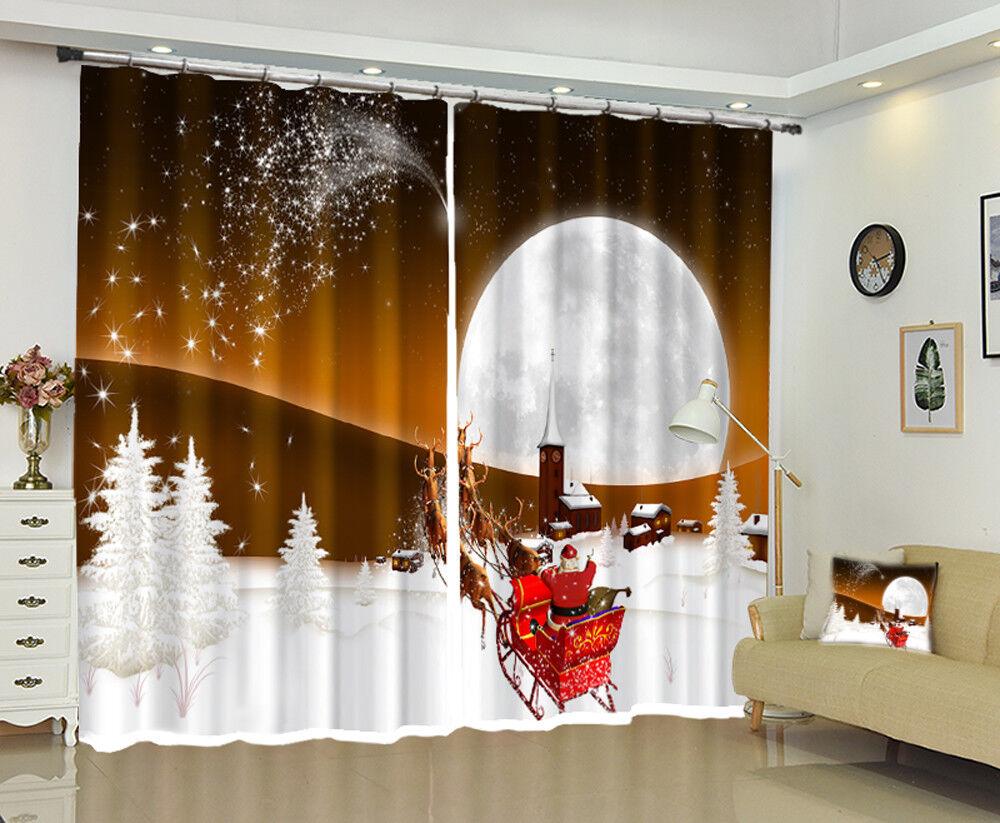 3D Navidad Navidad 766 Blockout Foto Impresión Cortinas Cortinas Ventana De Tela Reino Unido