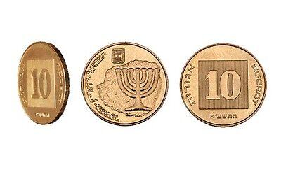 100 pcs TEN AGOROT NEW BRONZE COIN ISRAEL ISRAELI 10 AGUROT COINS Jewish Money