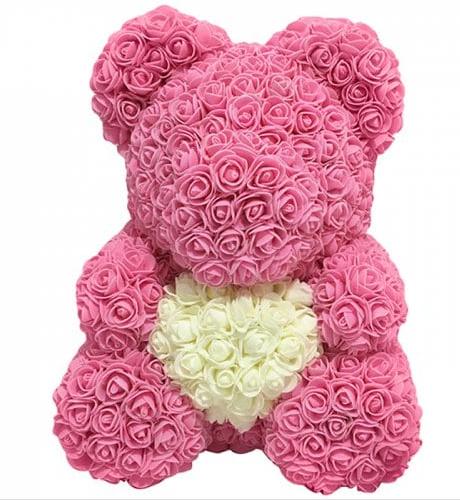 Rosan Teddy Bär 40 cm Handgemacht Rosa NEU