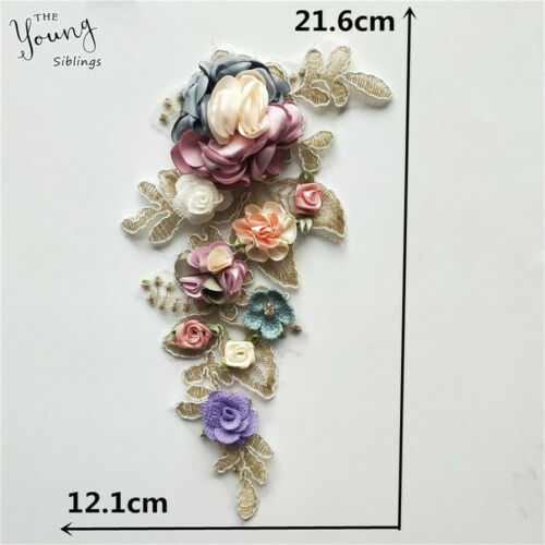 3D Lace Collar Trims Flower Embroidery Neckline Sewing Applique Patches Fabric