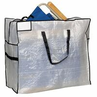 Household Essentials Large Tote Bag, Clear Tarp With Black Trim And Handles , Ne on sale