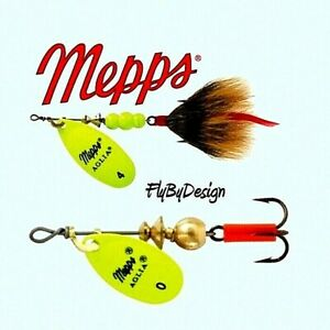 Mepps-Aglia-Hot-Chartreuse-Blade-Spinner-Choose-Hook-Size-Weight-amp-Quantity