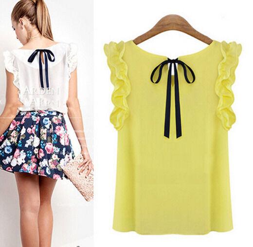 Summer Womens Ladies Sleeveless O-Neck Blouse Casual Chiffon Tank Tops T-Shirt