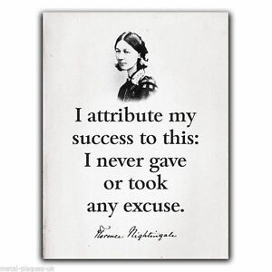 Florence Nightingale Quote I Attribute My Success Sign Metal Plaque