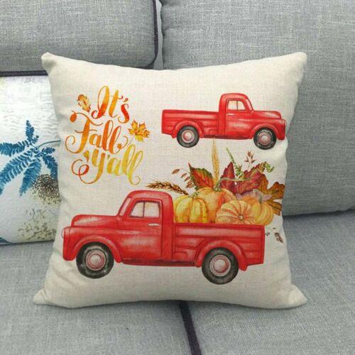 Happy Harvest Autumn Thanksgiving Truck Pumpkin Pillow Case Cushion Cover Decor