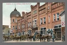 Old Postcard Elmira, New York Central Fire Station, Four Horse-Drawn Fire Wagons