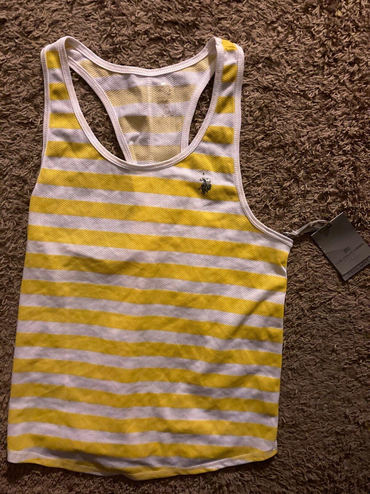 U.S. Polo Assn- Women's Athletic Tank Top, Size: X-Large, Yellow & White striped